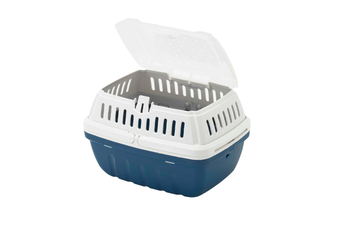 Moderna Hipster Small Pet Carrier, Top Opening Travel Crate, Blue Berry