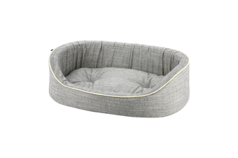 Round Striped Grey Dog Bed