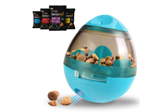 Dog Treat Dispenser Toy w/ Bonus Puppy Snacks, Blue