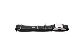 Hunter Cannes Alu-Strong Leather Dog Collar Clasp Buckle, Black - M (40-55cm)