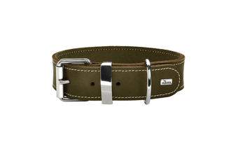 Hunter Aalborg Special Leather Dog Collar, Olive Green