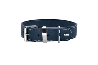 Hunter Aalborg Special Leather Dog Collar, Dark Blue - 45 (30-38cm)