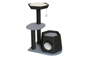 Black and Grey Wicker and Faux Sherpa 3-Platform Cat Tree
