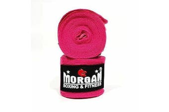 COTTON BOXING HAND WRAPS 180inch - 4m long (PAIR) [Pink]