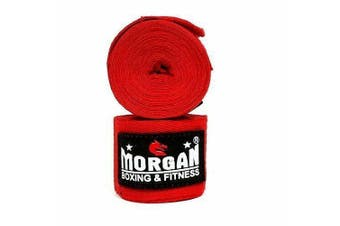 COTTON BOXING HAND WRAPS 180inch - 4m long (PAIR) [Red]