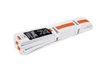 Yamasaki White Martial Arts Belts - Coloured Stripe