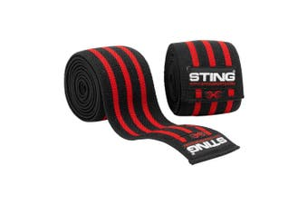Sting Elasticised Lifting Knee Wraps - RED / 80 INCH