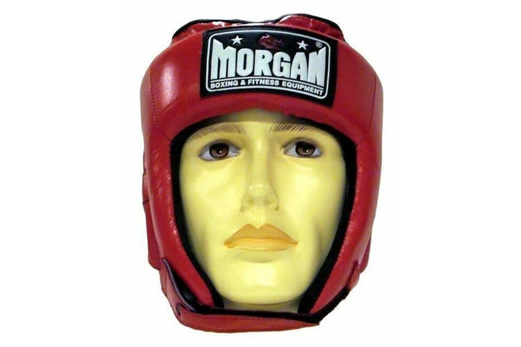 Morgan Platinum Leather Open Face Head Guard - M / RED