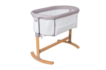 Childcare Breathable Bedside Baby Co Sleeper Sleeping Bassinet Beech