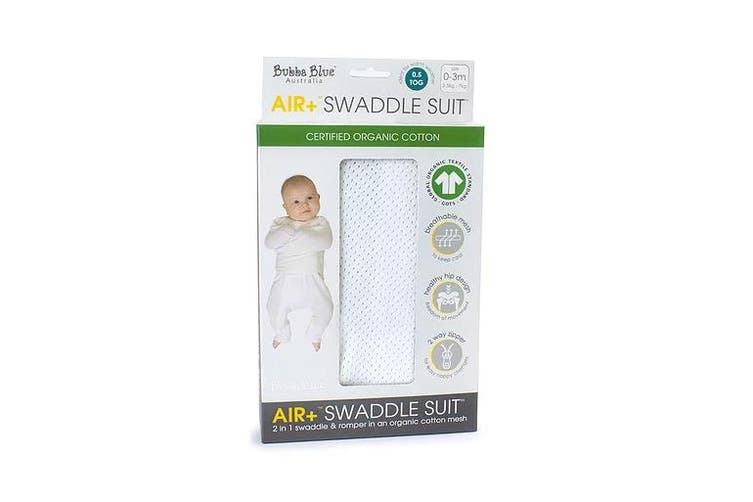 Bubba Blue White AIR+ 2 in 1 Swaddle Romper Swaddle suit Organic Cotton 0-3M
