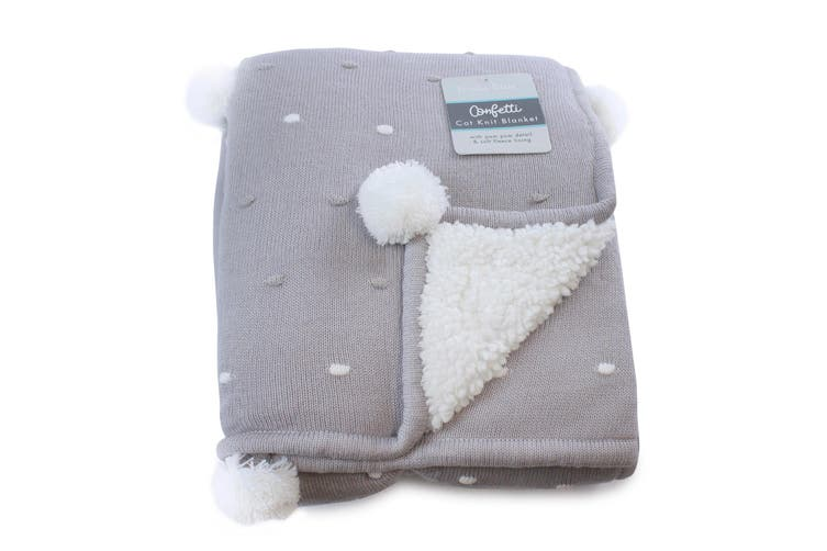 Bubba Blue Grey Confetti Knit Baby Blanket
