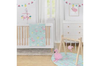 Lolli Living 4 Piece Nursery Set Quilt, Pillowcase, Fitted Sheet Flamingo