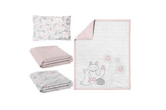 Lolli Living 4-piece Nursery set Quilt, Fitted Sheet x 2, Pillow Case Forest Friends