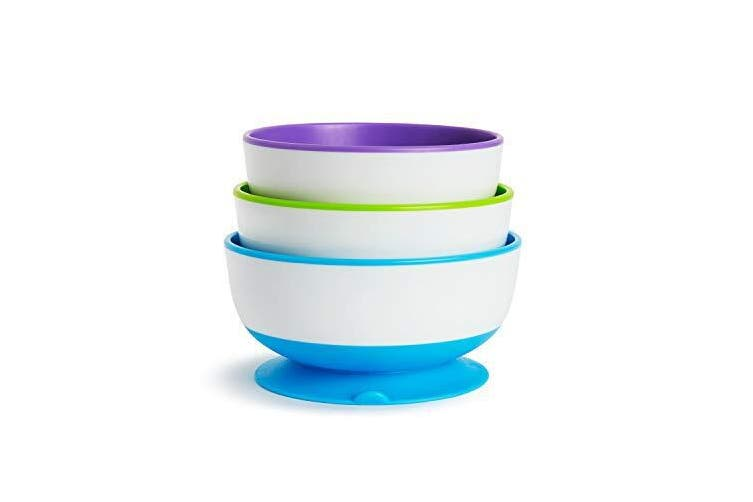 Munchkin Stay Put Kids Suction Feeding Bowl 3 Pack