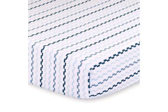 Little Haven Cot Fitted Sheet Blue/Black Squiggle