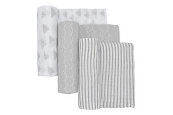 Living Textiles 3-pack Muslin wraps (110 x 110cm) Charcoal Grey