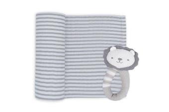 Living Textiles Austin the Lion Rattle & Muslin Gift Set