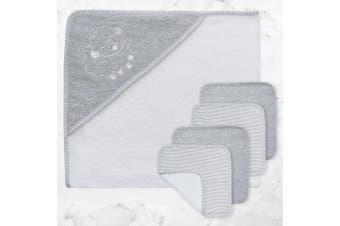Living Textiles 5pc Bath Gift Set Grey Stripe/Melange
