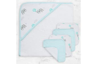 Living Textiles 5pc Bath Gift Set Dream Big/Aqua Stripe