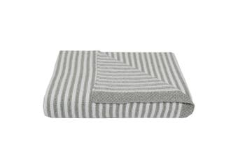 Living Textiles Knitted Stripe Bassinet/Pram Baby Blanket Grey/White