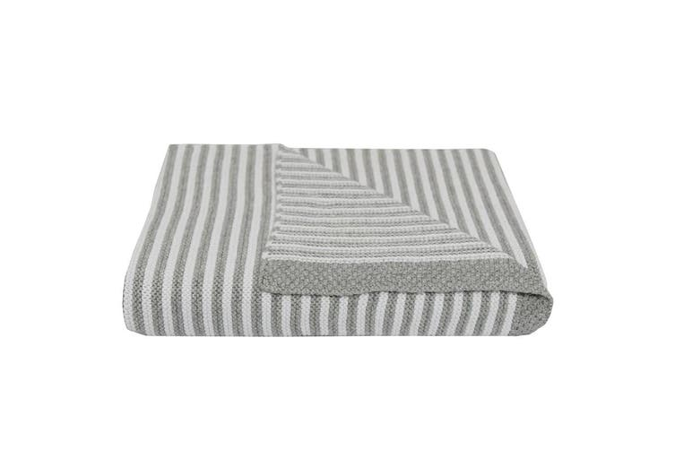 Living Textiles Knitted Stripe Bassinet/Pram Baby Blanket Grey/White