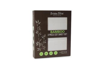 Bubba Blue White Bamboo 3pcs Cot Sheet Set