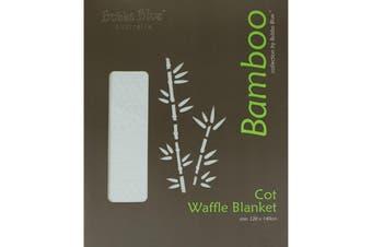 Bubba Blue White Bamboo Cot Waffle Blanket
