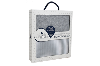 Living Textiles 2-pack Jersey Bassinet Fitted Sheet Grey Stripe/Melange