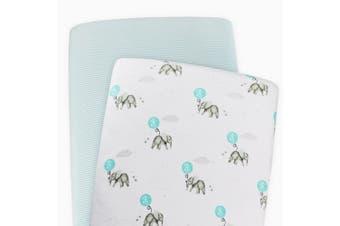 Living Textiles 2-pack Jersey Bassinet Fitted Sheet Dream Big/Aqua Stripe