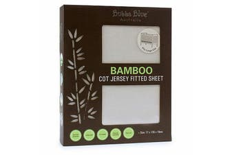 Bubba Blue White Bamboo Jersey Cot Fitted Sheet
