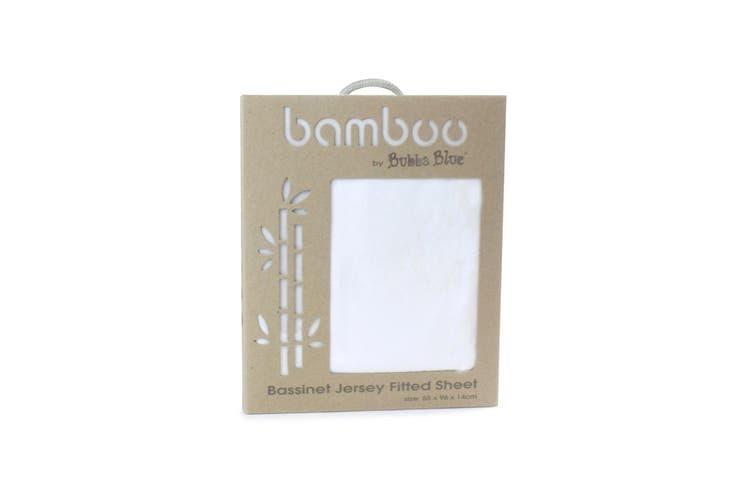 Bubba Blue White Bamboo Jersey Basinet Fitted Sheet