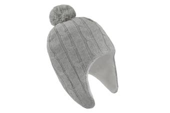 Living Textiles Cable Knit Sherpa Beanie 0-6m Grey Marle