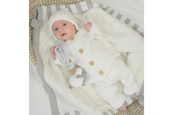 Living Textiles 3pc Cotton Knit Cardigan, Pant & Beanie Set Ivory 3-6m
