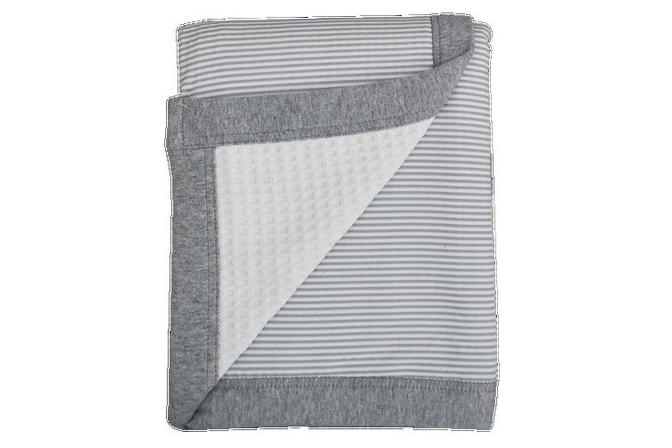 Living Textiles Cot Waffle Blanket Grey stripe