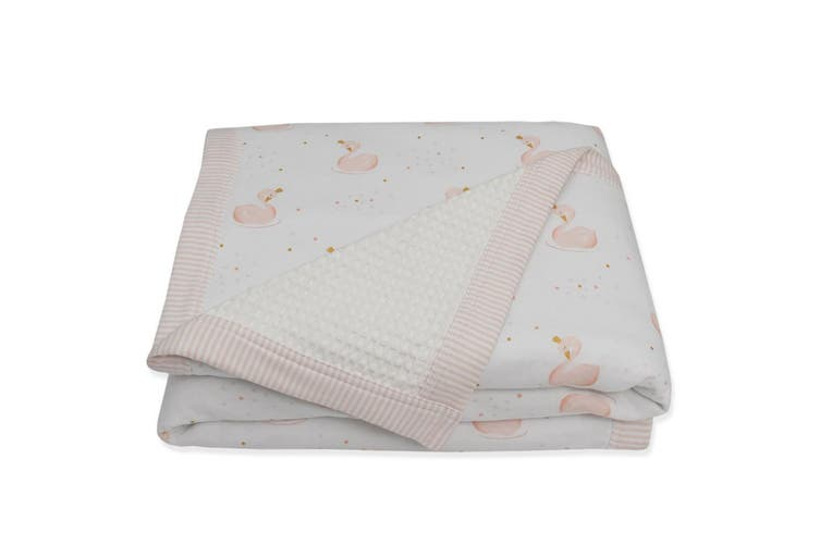 Living Textiles Cot Waffle Blanket Swan Princess