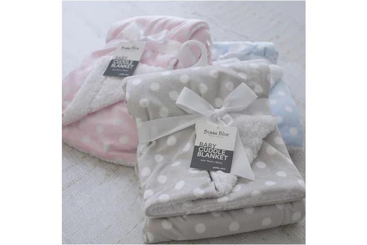 Bubba Blue Polka Dots Reversible Cuddle Blanket Grey