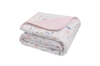 Living Textiles Muslin Cot Blanket 100 x 120cm Botanical/Blush