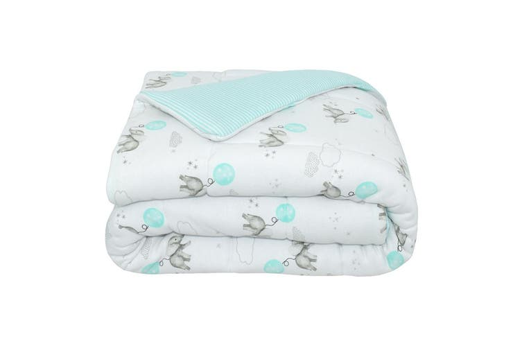 Living Textiles Jersey Cot Comforter Dream Big/Aqua Stripe