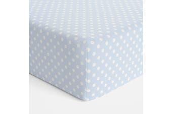 Bubba Blue Polka Dots Bassinet Jersey Fitted Sheet Blue