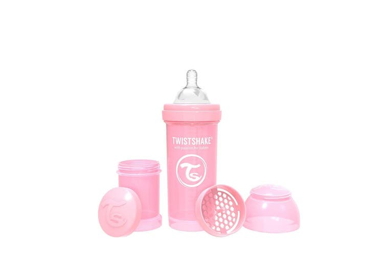 Twistshake Anti-Colic Milk Feeding Baby Bottle 260ml Pastel Pink