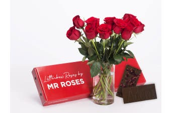 Red Roses & Chocolate (6 - 12 Stems)