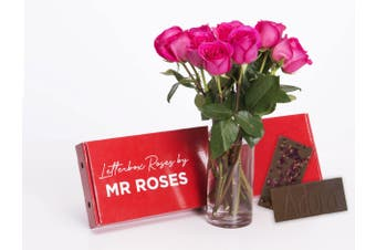 Bright Pink Roses & Chocolate (6 - 12 Stems)