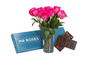 Sublime Bright Pink Roses & Chocolate (16 - 21 Stems)
