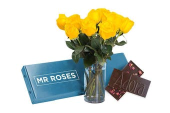 Sublime Yellow Roses & Chocolate (16 - 21 Stems)