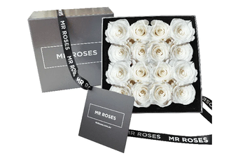 16 White Infinity Preserved Roses