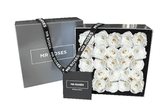 25 White Infinity Preserved Roses
