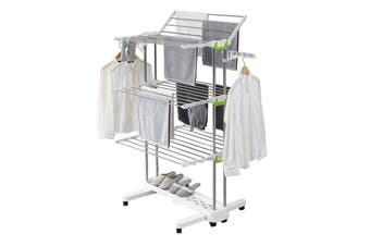 Large Foldable Rolling Clothes Airer Laundry Drying Rack with 8 Lockable Casters