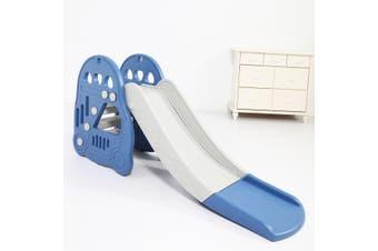Large Kids Slide Basketball Hoop Indoor Play Slide Set Home Playground - Blue