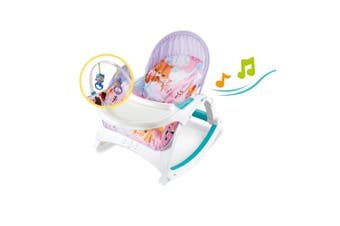 4 in 1 Baby Rocker Bouncer with Feeding Tray & Toy Bar & Vibration Music - Light Purple