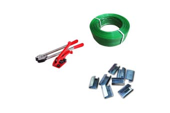 All in 1 Manual Heavy Duty Strapping Packing Tools Set - Tensioner & Sealer & Straps & Clips